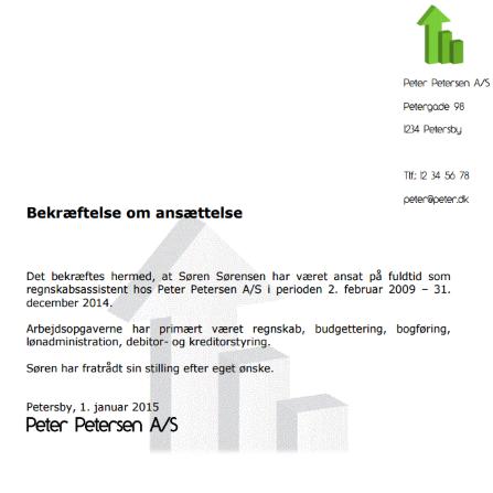 Gratis skabelon - Bekræftelse af ansættelse - Tjenesteattest | Lønguiden